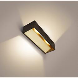 SLV 1002928 Logs , nástěnné svítidlo se svícením nahoru/dolů, 19W LED 2000-3000K, černozlatá, šířka 30cm
