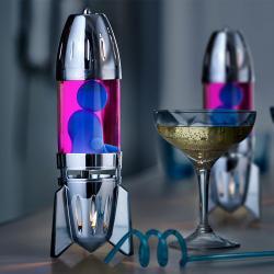 Mathmos Fireflow R1 Silver, originální lávová lampa stříbrná s růžovou tekutinou a modrou lávou, pro čajovou svíčku, výška 24cm
