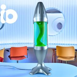 Mathmos iO Giant Silver, originální lávová lampa, matně černá s modrou tekutinou a zelenou lávou, výška 78cm