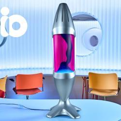 Mathmos iO Giant Silver, originální lávová lampa, matně černá s růžovou tekutinou a tyrkysovou lávou, výška 78cm