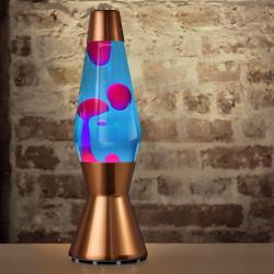 Mathmos Astro Copper, originální lávová lampa, měděná s modrou tekutinou a růžovou lávou, výška 43cm