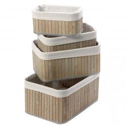4dílná sada bambusových košíků