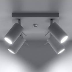 EULUNA Stropní reflektor Round bílá čtyři zdroje, čtverec