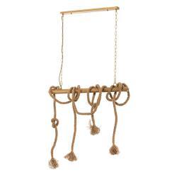 EULUNA Závěsné světlo Mauli ze dřeva a provazu