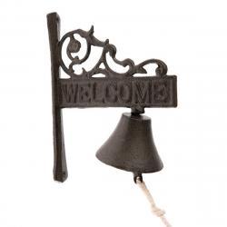 Litinový zvonek Welcome, 17 x 21 x 9 cm