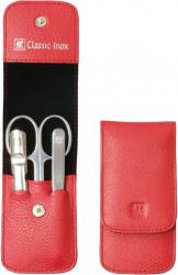 Zwilling manikúra Classic Inox s nůžkami v koženém pouzdře, 3 ks, červená