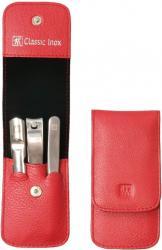 Zwilling manikúra Classic Inox se štípátkem v koženém pouzdře, 3 ks, červená