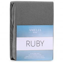 3kraft Froté prostěradlo s gumou AmeliaHome Ruby grafitové