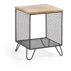 Černý odkládací stolek s deskou z mangového dřeva La Forma Interni
