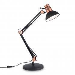 Ideallux Stolní lampa Wally s kloubovým ramenem, černá/měď