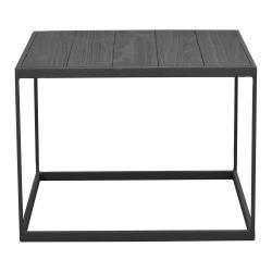 Černý odkládací stolek s deskou z borovicového dřeva Rowico Franky, 60 x 60 cm