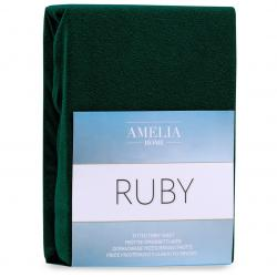 3kraft Froté prostěradlo s gumou AmeliaHome Ruby láhvově zelené