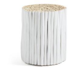 Bílý odkládací stolek z teakového dřeva La Forma Filippo, ⌀35cm