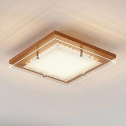 Lindby Dřevěné stropní LED svítidlo Cattleya, 32cm