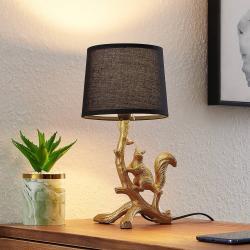 Lindby Lindby Squira stolní látková lampa, černo-zlatá