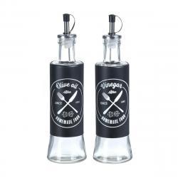 DekorStyle Sada skleněných láhví na olej a ocet 2x300 ml černá