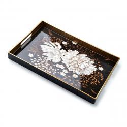 DekorStyle Dekorační podnos s úchyty Blanche Lotus černý