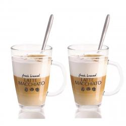 DekorStyle Sada 2 sklenic se lžičkou Latte 300 ml
