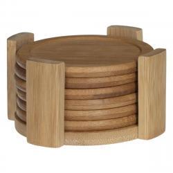 DekorStyle Sada bambusových podtácků Lin 6 ks hnědá