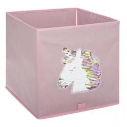 DekorStyle Textilní koš na hračky Unicorn růžový