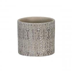DekorStyle Zdobený cementový květináč šedý/stříbrná