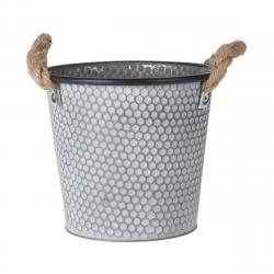 DekorStyle Zinkový obal na květináč s držadly Lissa 2 šedý