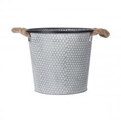 DekorStyle Zinkový obal na květináč s držadly Lissa 3 šedý