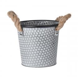 DekorStyle Zinkový obal na květináč s držadly Lissa šedý