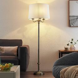 Lindby Lindby Christer stojací lampa, mosaz krémová 160cm