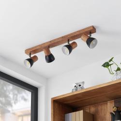 Lindby Lindby Tonja stropní reflektor se dřevem, 4 zdroje