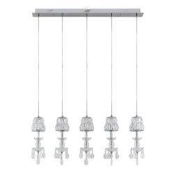 Lucande Lucande Yasanie LED závěsné světlo, 5, podlouhlé