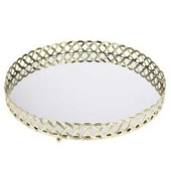 DekorStyle Zlatý podnos se zrcadlem 24 cm