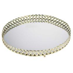DekorStyle Zlatý podnos se zrcadlem 29 cm