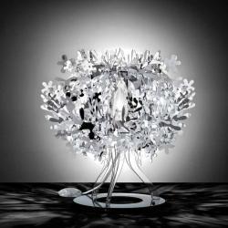Slamp FIO14TAV0001S Fiorellina, stříbrná stolní lampička, 1x28W, výška 34cm