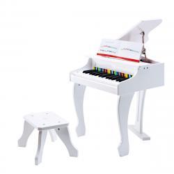 Hape Deluxe bílé piáno se stoličkou, 50 x 60 x 52 cm
