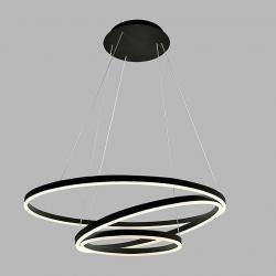 Led2 3271133 Circle 3 P-Z, černé tříkruhové svítidlo pro zavěšení, 136W LED 3000K, prům. 80cm