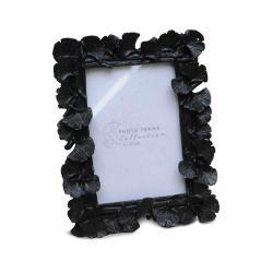 DekorStyle Stojící fotorámeček s listmi Aisha 17x15 cm černý