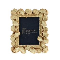DekorStyle Stojící fotorámeček s listmi Aisha 17x15 cm zlato-měděný
