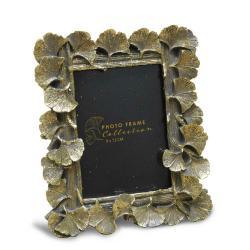 DekorStyle Stojící fotorámeček s listmi Aisha 17x15 cm zlatý