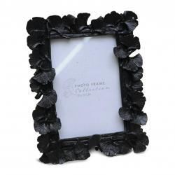DekorStyle Stojící fotorámeček s listmi Aisha 20x16 cm černý