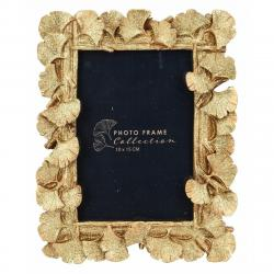 DekorStyle Stojící fotorámeček s listmi Aisha 20x16 cm zlato-měděný