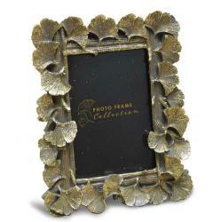 DekorStyle Stojící fotorámeček s listmi Aisha 20x16 cm zlatý