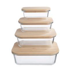 NATURALS Svačinový box s bambusovým víkem set 4 ks - čirá/přírodní