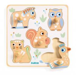 Dřevěné puzzle pro nejmenší Djeco Pastelová zvířátka
