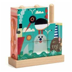 Dřevěné pop-up kostky Djeco Moře
