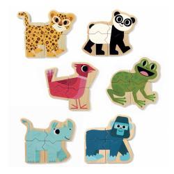 Skládací dřevěné magnety Djeco Pomíchaná zvířátka