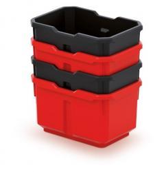 PlasticFuture Set 4 plastových boxů na nářadí TITANO 156x110x195 černá/červená