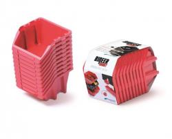 PlasticFuture Set úložných boxů 10ks Ziron 180x98x118 červený