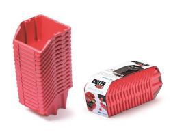 PlasticFuture Set úložných boxů 16ks Ziron 234x77x92 červený