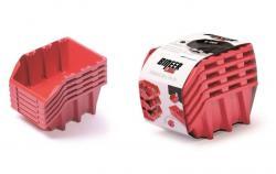 PlasticFuture Set úložných boxů 5ks Ziron 198x118x155 červený